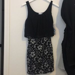 NWT black lace chiffon mini dress